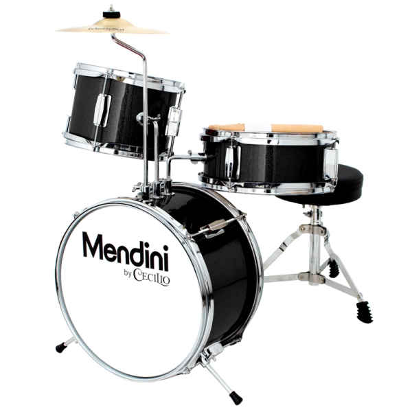 Mendini by Cecilio 13-inch 3-Piece Metallic black Junior drum set