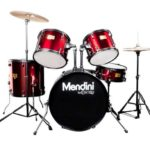 Mendini by Cecilio 22-inch 5-Piece Metallic Bright Red Adult drum set