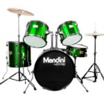 Mendini by Cecilio 22-inch 5-Piece Metallic Green Adult drum set