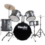 Mendini by Cecilio 22-inch 5-Piece Metallic Silver Adult drum set