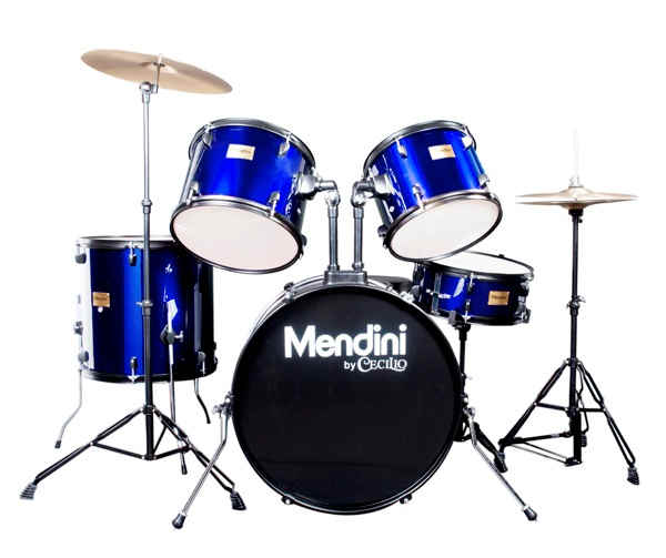 Mendini by Cecilio 22-inch 5-Piece Metallic blue Adult drum set