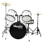 Mendini by Cecilio 22-inch 5-Piece White Adult drum set
