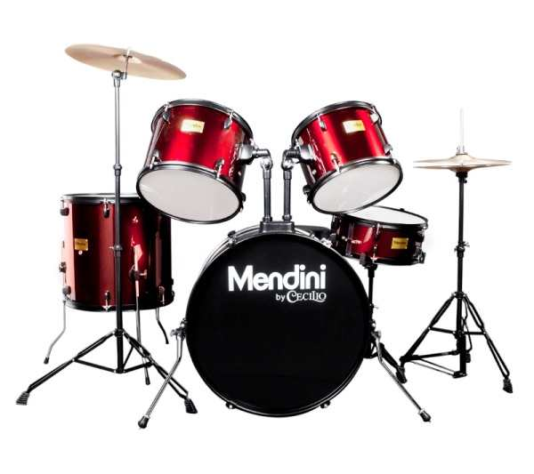 Mendini By Cecilio Drum Set - Adult - 22-inch 5-Piece Metallic Bright Red