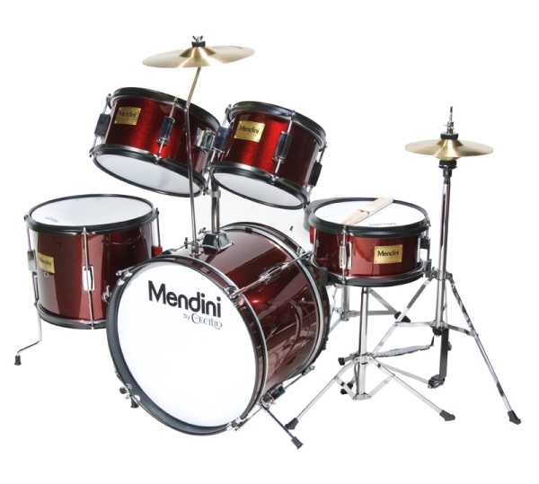 Mendini Junior Drum Set - 16-inch 5-Piece Metallic Wine Red