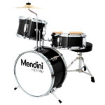 Mendini Drum Set Reviews - Image of the Mendini by Cecilio 13-inch 3-Piece Metallic Black Junior Drum Set