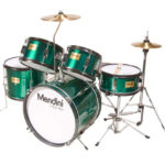 Mendini Drum Set Reviews - Image of the Mendini by Cecilio 16-inch 5-Piece Metallic Green Junior Drum Set