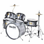 Mendini Drum Set Reviews - Image of the Mendini by Cecilio 16-inch 5-Piece Metallic Silver Junior Drum Set