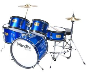 Mendini by Cecilio 16-inch 5-Piece Metallic Blue Junior Drum Set