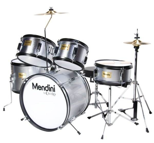 Mendini by Cecilio 16-inch 5-Piece Metallic Silver Junior drum set