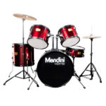 Mendini by Cecilio 22-inch 5-piece drum set in Bright Red