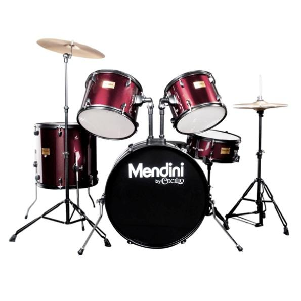 Mendini by cecilio 22-inch 5-piece drum set in Wine Red