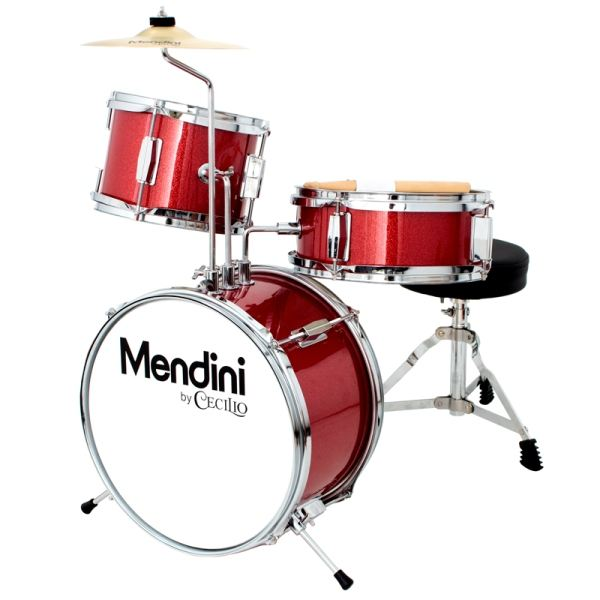 Mendini by Cecilio 13-inch 3-Piece Junior Drum Set In Metallic Bright Red